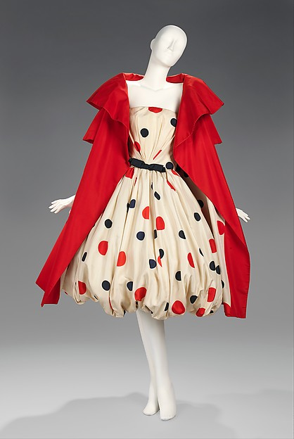 Short, red evening coat and bubble-hem dress in a silk polka dot print by Scaasi, 1958 (as 1961)
