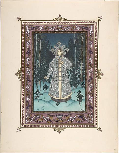 "Illustration for ""Snegurochka"" [Snegurochka in the forest]"
