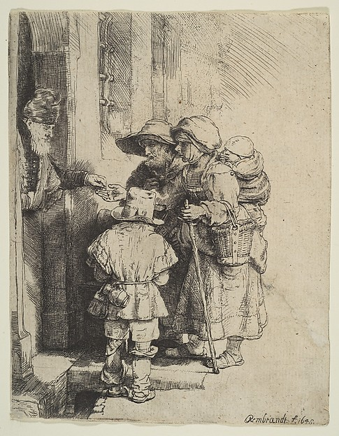 Beggars receiving alms at the door of a house, by Rembrandt 1648