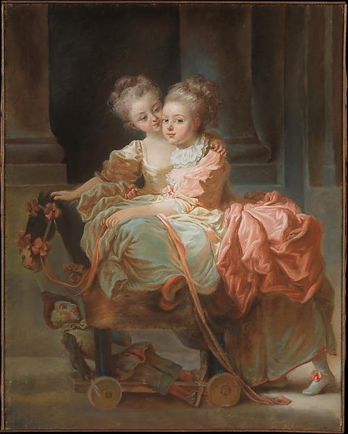 The Two Sisters, Jean Claude Richard, Abbé de Saint-Non (French, Paris 1727–1791 Paris), Pastel on paper, laid down on canvas