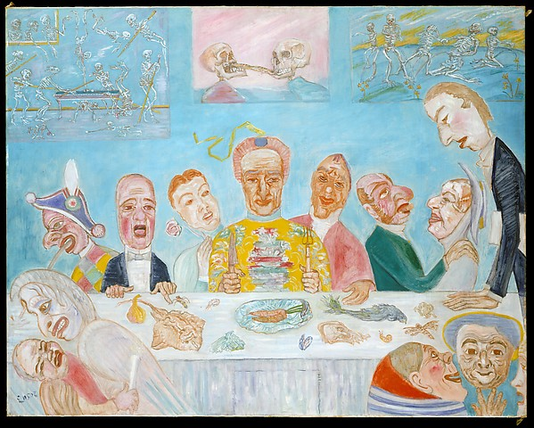 Comical Repast (Banquet of the Starved) James Ensor  (Belgian, Ostend 1860–1949 Ostend) Date: ca. 1917–18 Medium: Oil on canvas Dimensions: 45 1/2 x 57 1/4 in. (115.6 x 145.4 cm) Classification: Paintings Credit Line: Bequest of Miss Adelaide Milton de Groot (1876–1967), 1967 Accession Number: 67.187.68
