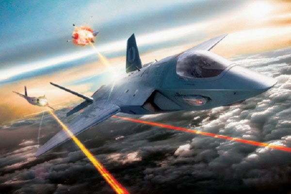 Graphic representation of the Air Force's hopes for its aircraft laser program. (Courtesy of the Air Force)