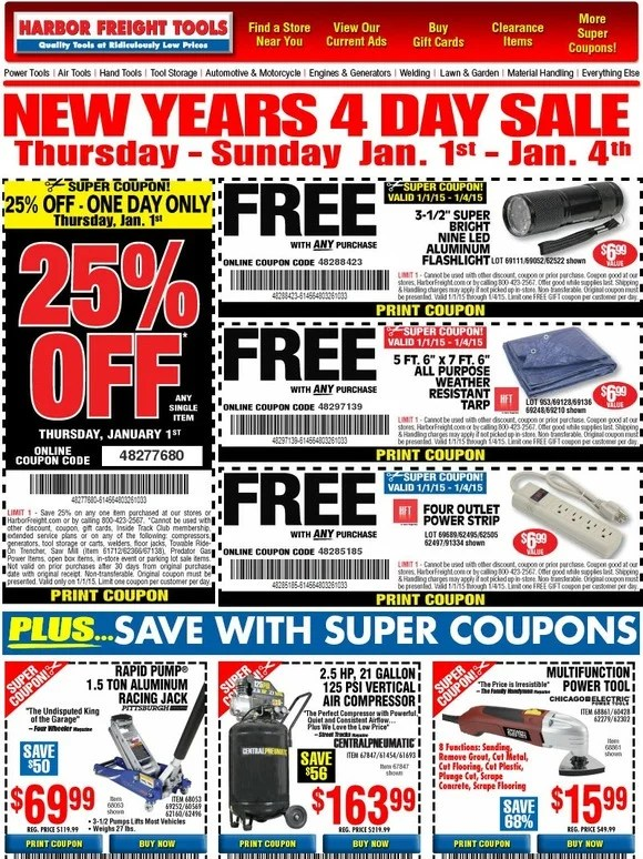 Harbor Freight Happy New Year 25 Off Coupon 3 Free