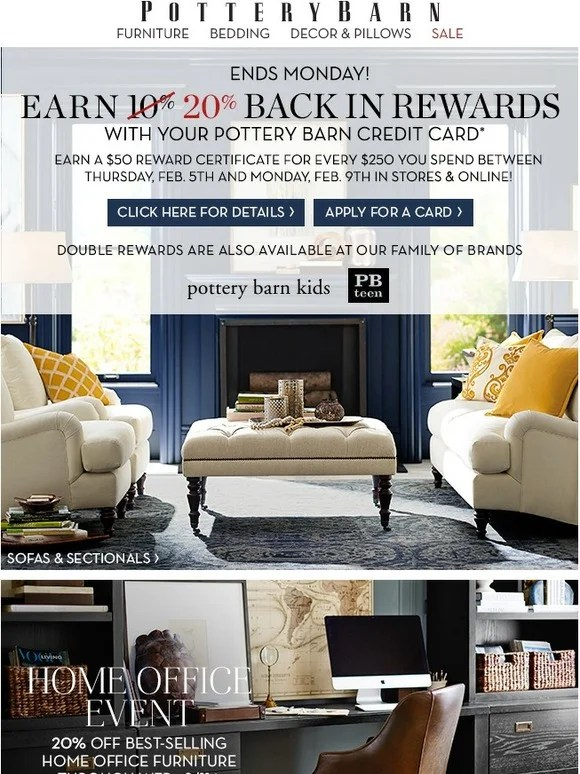 Pottery Barn Double Rewards End Soon Use Your Pottery