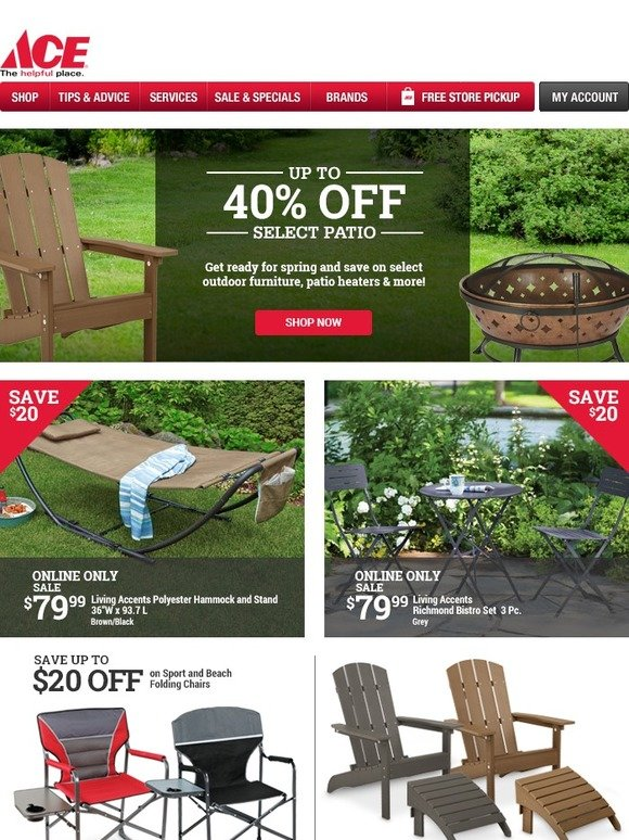 ace hardware up to 40 off select