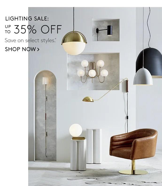 cb2 lighting sale milled