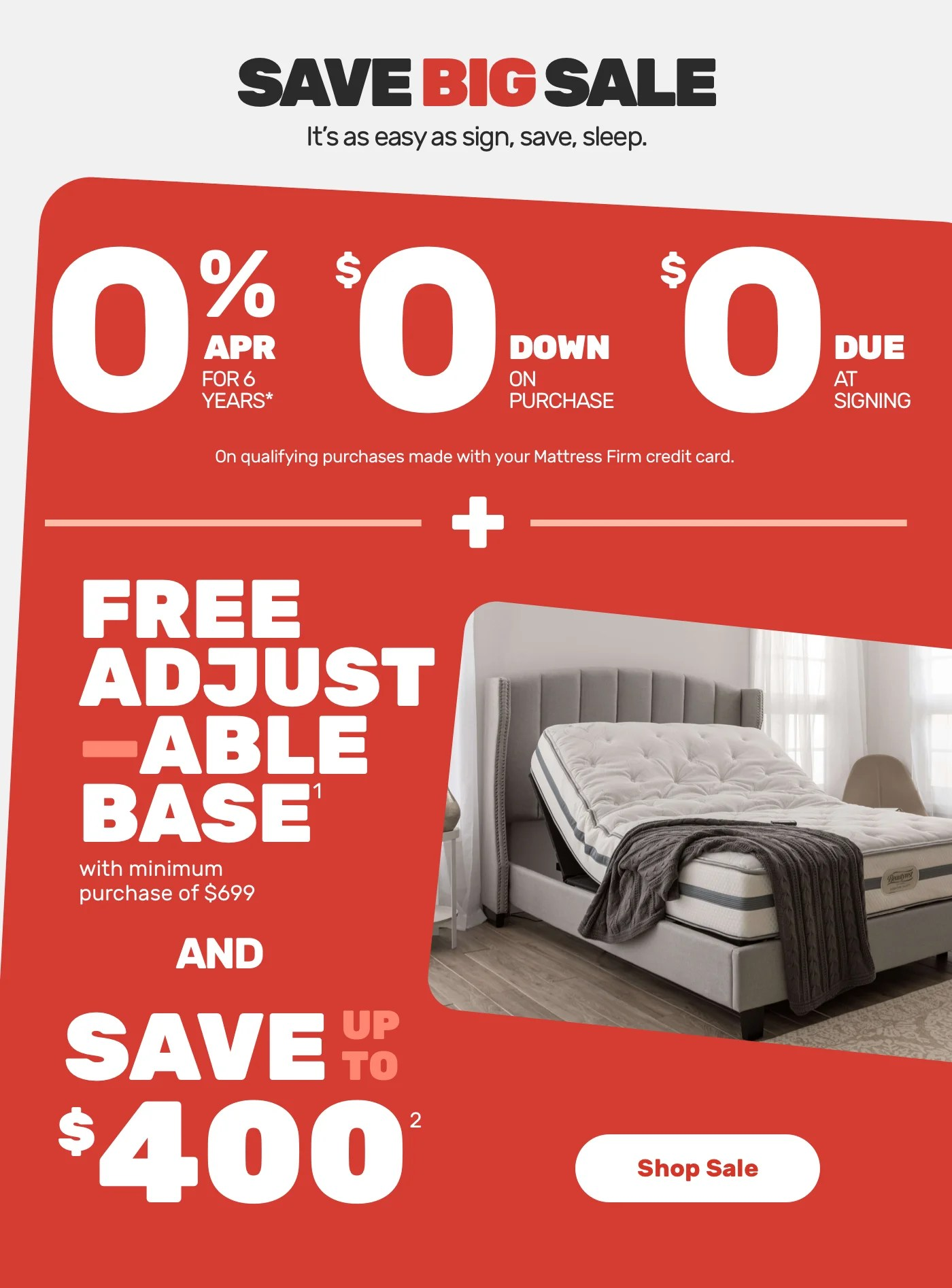 mattress firm free adjustable base for