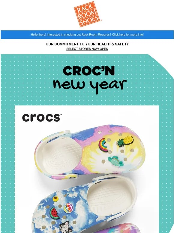 rack room shoes new crocs just in