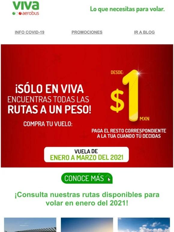 VivaAerobus: 📢 ¡Todas nuestras rutas desde $1 MXN! ✈️ Vuela de enero a  marzo del 2021.   Milled