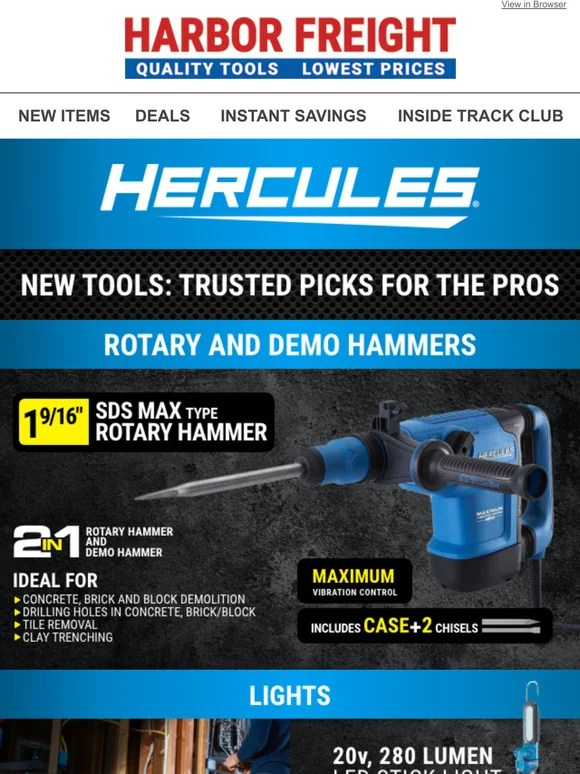 harbor freight tools new from hercules