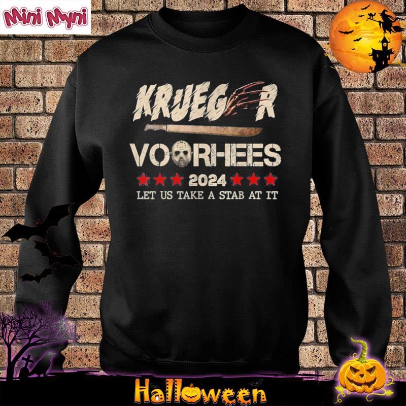With halloween on its way, you don't have to just decorate your home and yard to reflect your love for this time of yea. 2024 Let Us Take a Stab At It Halloween Krueger Voorhees 2021 Shirt, hoodie, sweater, long ...