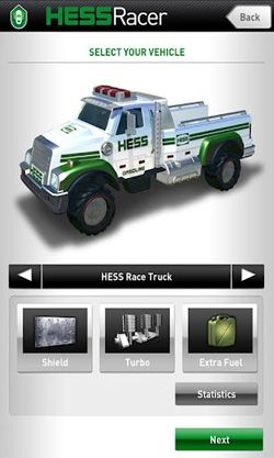 Screenshots of the Hess Racer for Android tablet, phone.