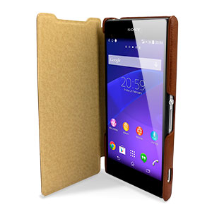 Pudini Leather Style Sony Xperia Z2 Stand Case - Brown