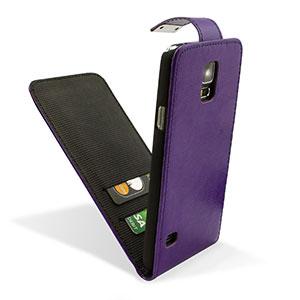 Adarga Leather Style Galaxy S5 Wallet Flip Case - Purple