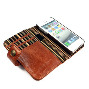 Tuff-Luv iPhone 5S / 5 Vintage Leather Wallet Case with RFID - Brown