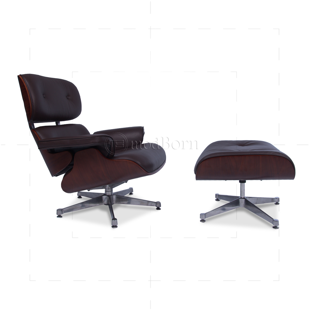 Eames Style Lounge Chair And Ottoman Brown Leather Cherry