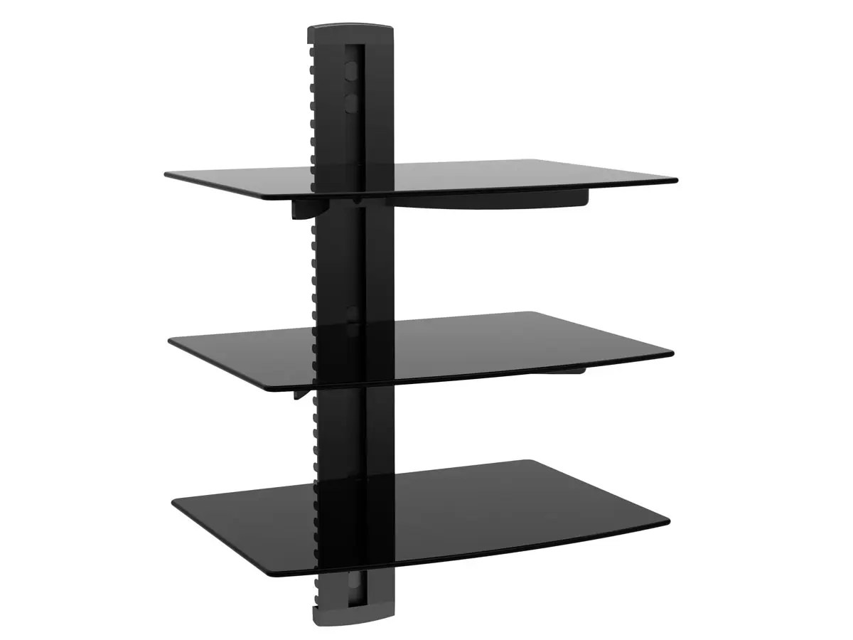 Monoprice 3 Tier Electronic Component Glass Shelf Wall