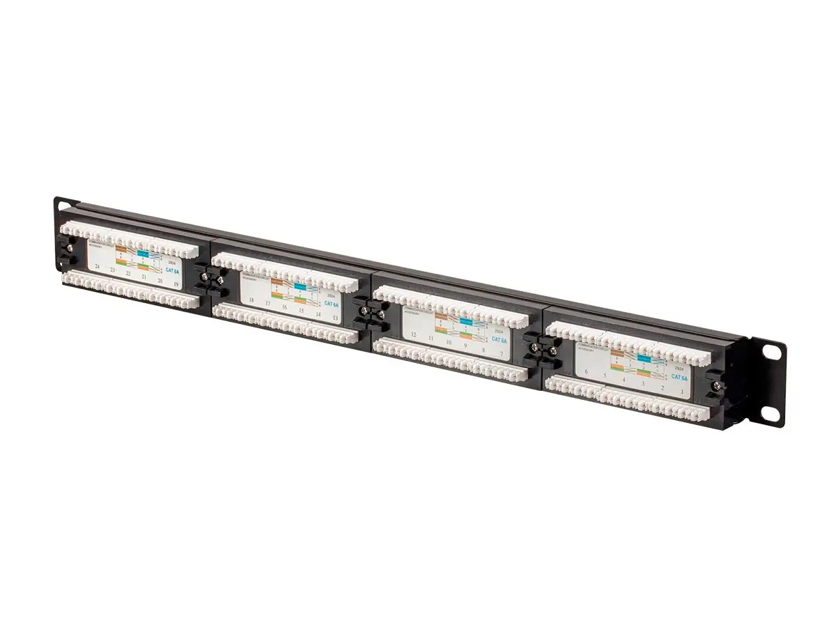 Monoprice Cat6a Utp 19 Inch 1u Patch Panel 24 Port