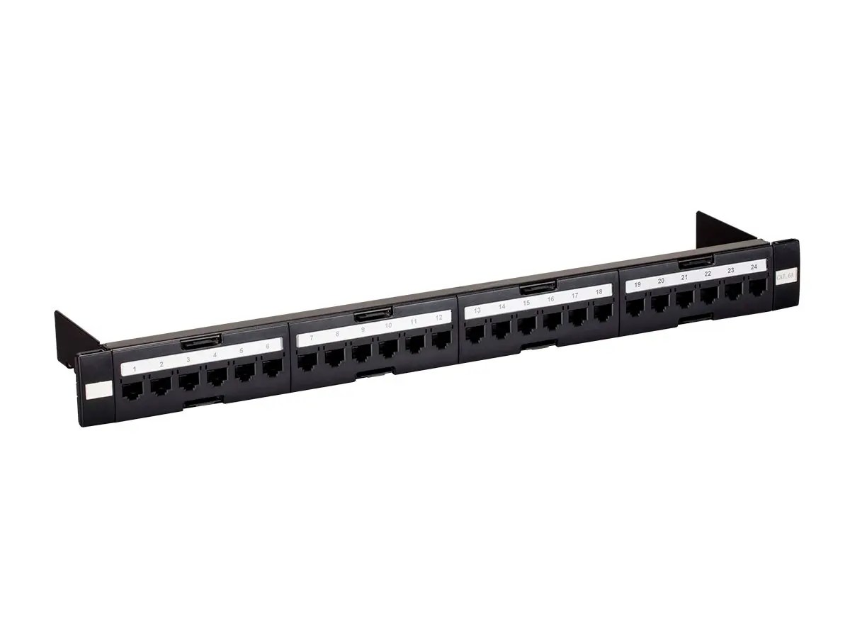 Monoprice Entegrade Series Cat6a Utp 19 Inch 1u Tool Less Patch Panel 24 Port