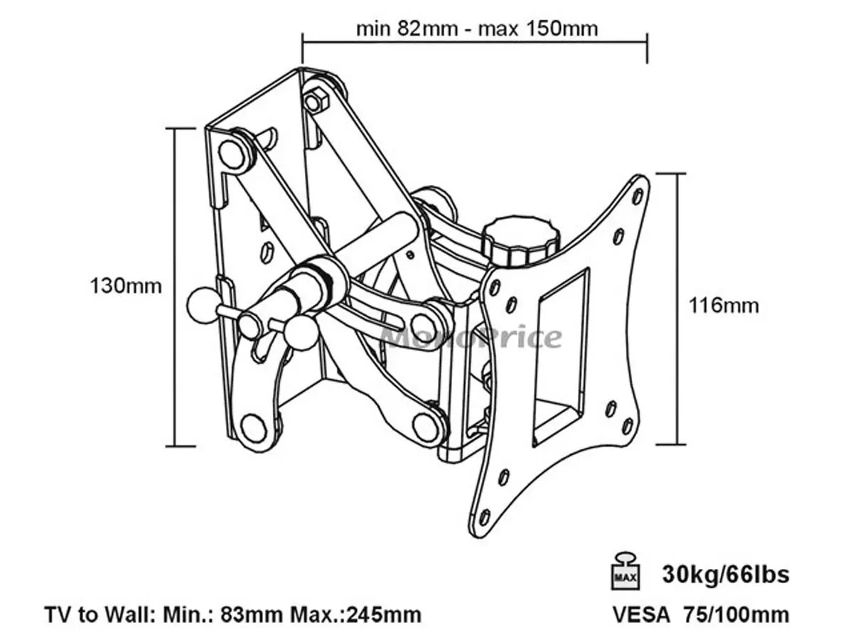 Monoprice full motion articulating tv wall mount bracket for tvs 13in to 27in