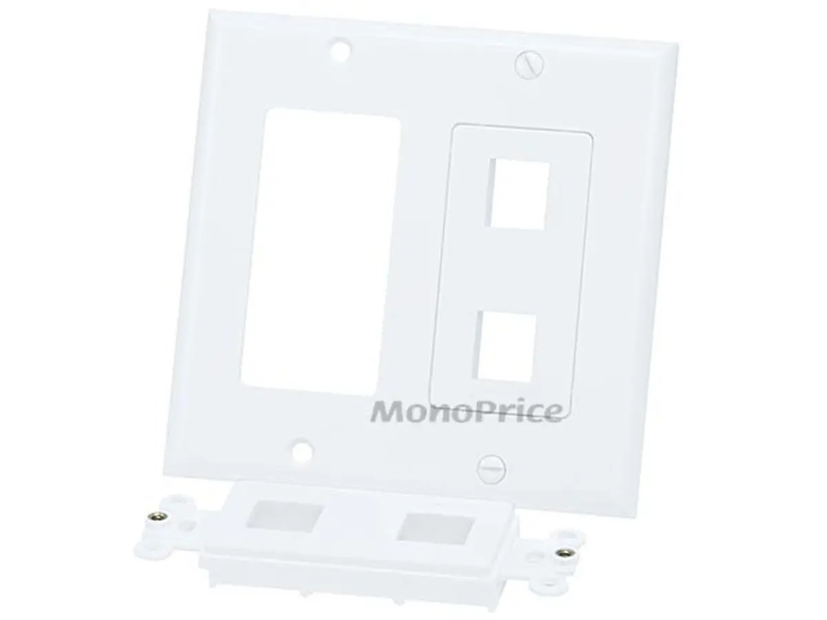 Monoprice 2 Gang Wall Plate For Keystone 4 Hole