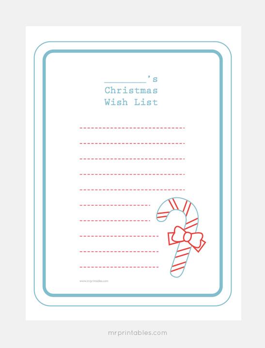 Christmas Wish List Templates Mr Printables