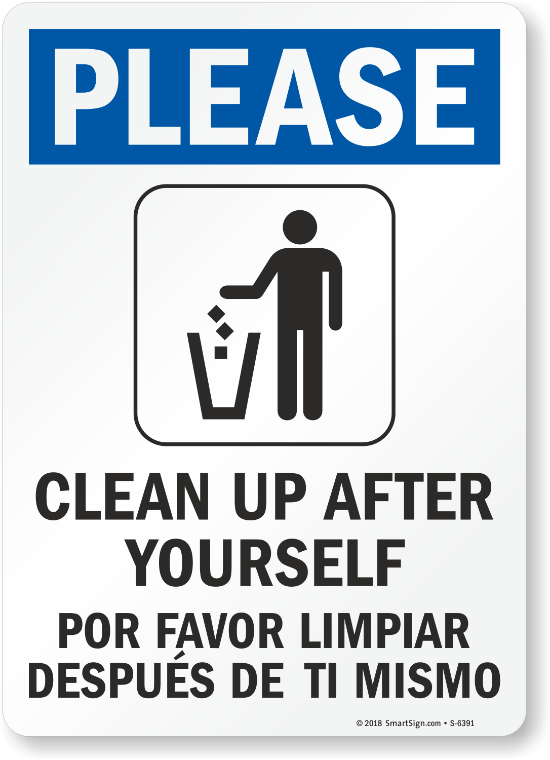 Bilingual Please Clean Up After Yourself Sign Best Prices SKU S 6391