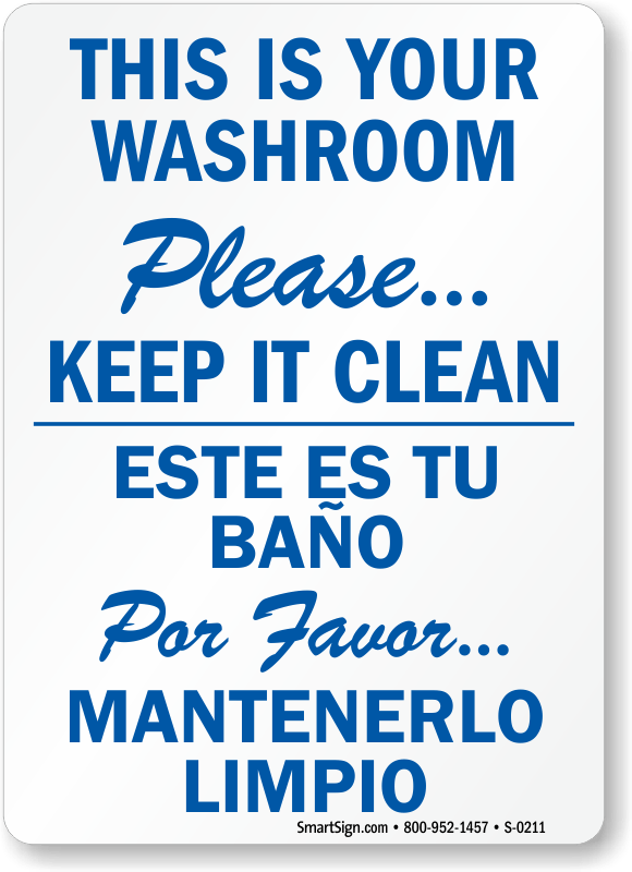 Bathroom Signs To Keep Clean spanish bathroom signs : brightpulse