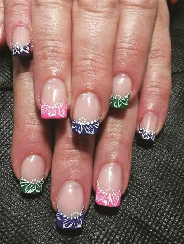 These Colorful French Nails Were Created By Elmarie Singleton Who Pleted A Nail Art Course With E Mi School Of Design Pretoria