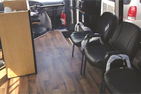The Vehicle Has Two Client Service Chairs That Heat And Mage A Waiting Area With Three Reception Receptionist Desk Amenities Such As