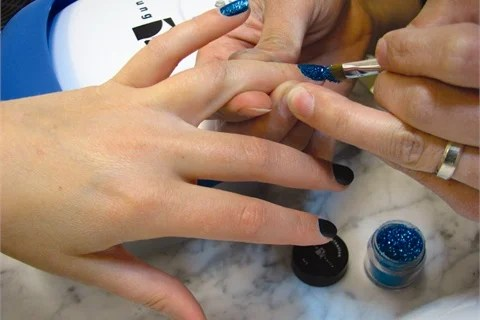 Using A Make Up Brush Pick Loose Glitter And Liberally Apply It To Cover The Surface Of Mani Q Color In This Demo Royal Blue Is