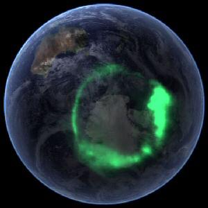 Aurora Australis seen from space