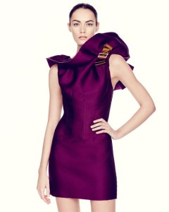 Lanvin Sleeveless Ruffle Neck Mini Dress  Purple   Neiman Marcus
