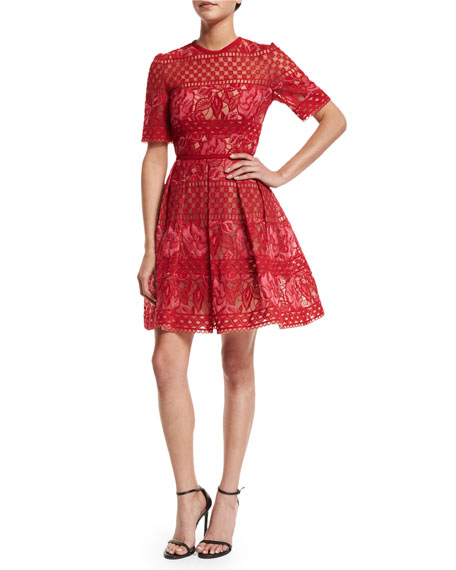 Red Embroidered Tulle Cocktail Dress by Elie Saab