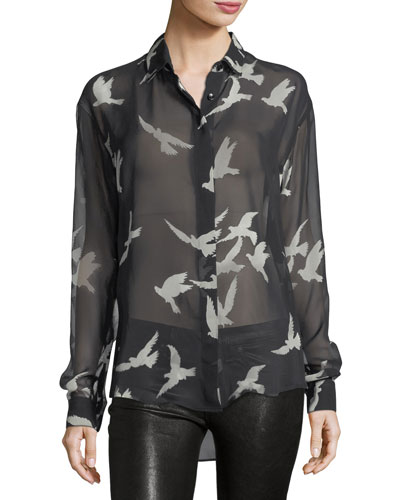 Saint Laurent Bird-Print Sheer Silk Shirt