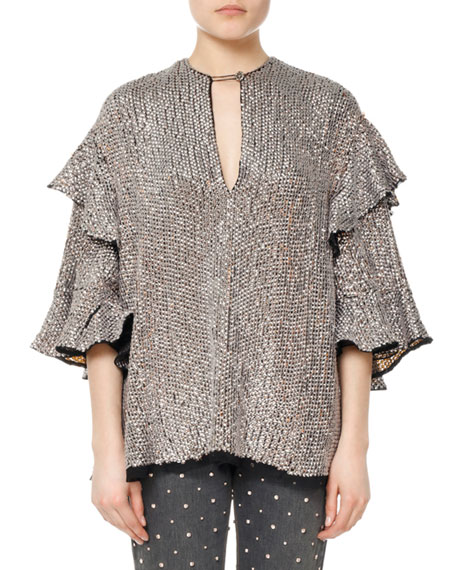 Basile Sequined Viscose Ruffle Blouse