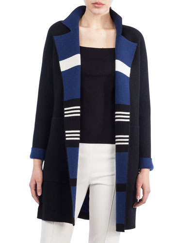 Akris Open-Front Reversible Striped Cashmere Knit Coat