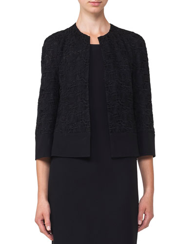 Akris Round-Neck Hook-Front Circle-Embroidery Crepe Jacket