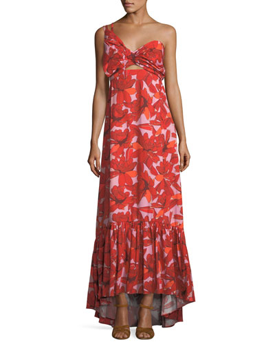 Johanna Ortiz Cimarron Rose-Print One-Shoulder Long Cotton Poplin Dress