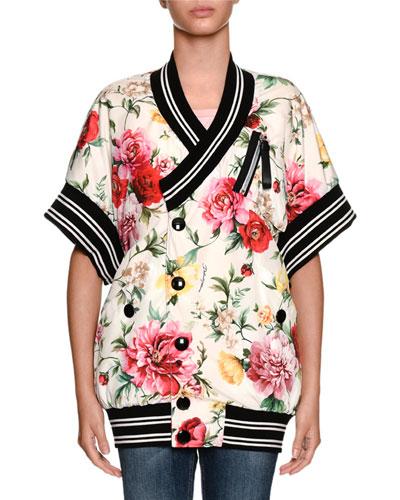 Dolce & Gabbana Short-Sleeve Floral-Print Wrap Snap-Front Bomber Jacket