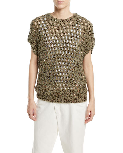 Brunello Cucinelli Crewneck Cap-Sleeve Wool Netted Top with Macro-Paillettes