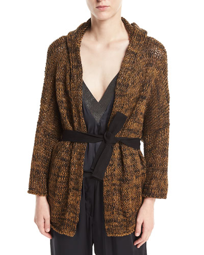 Brunello Cucinelli Open-Front Linen-Hemp Metallic Hooded Cardigan with Belt