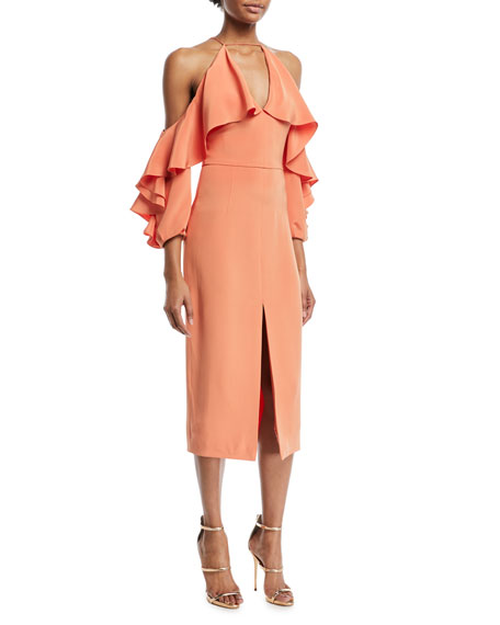 Aura Ruffled-Frill Cold-Shoulder Halter Silk Crepe Cocktail Dress