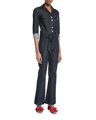 Carolina Ritzler Long-Sleeve Snap-Front Belted Denim Jumpsuit
