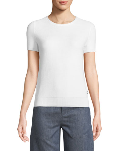 Loro Piana Girocollo Beausoleil Crewneck Short-Sleeve Top