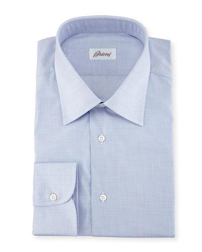 Brioni Micro-Check Cotton Dress Shirt