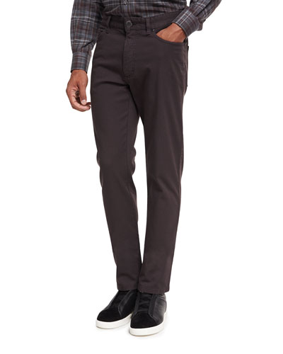 Ermenegildo Zegna New Pique Five-Pocket Pants, Dark Brown