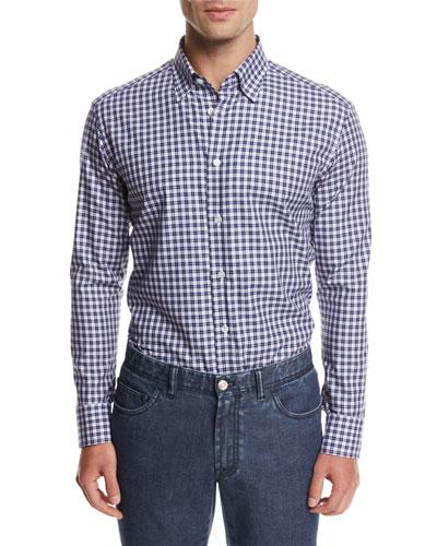 Brioni Check Cotton Shirt, Blue