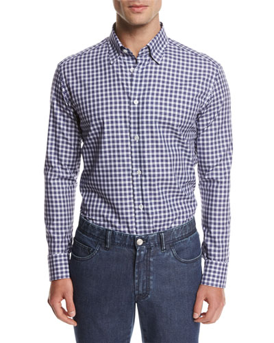 Brioni Check Cotton Shirt, Blue