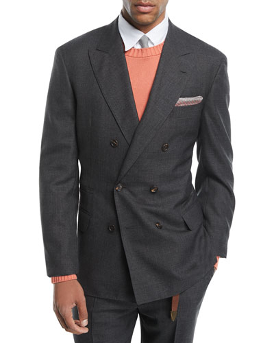 Brunello Cucinelli Peak-Lapel Double-Breasted Wool Suit